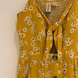 Yellow Floral Summer dress with pockets